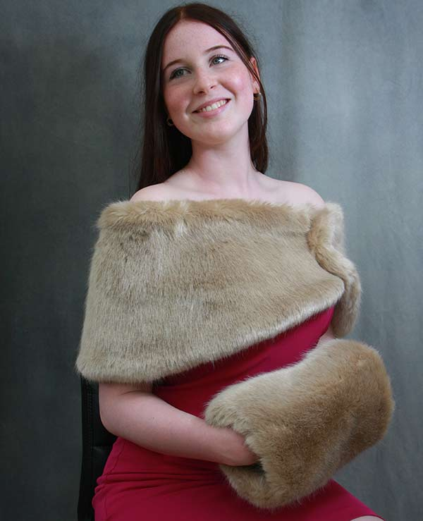 Overlapping faux fur muff and shrug wedding