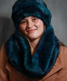 Teal Faux Fur Snood