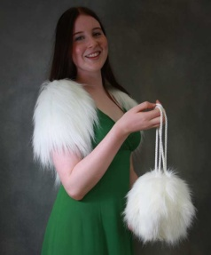 white faux fur bag