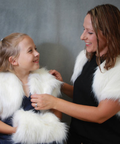 Ivory White faux Fur Shrug